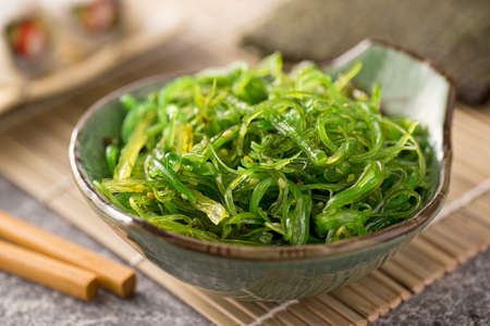 green salad: A delicious fresh seaweed salad. Stock Photo