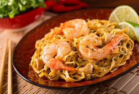 A delicious pad thai noodles with shrimp.