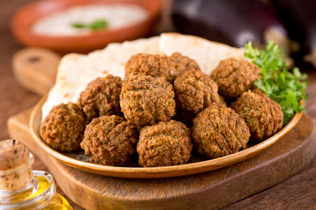 Delicious homemade falafel with pita bread.