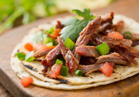 taco tortilla: A delicious pulled pork taco with tomato, jalapeno pepper, green onion, and cilantro on a grilled corn tortilla.