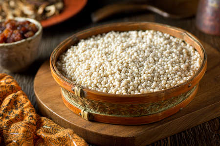 israeli: A bowl of raw organic Israeli couscous. Stock Photo