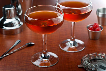 A delicious manhattan cocktail with rye, sweet vermouth, and bitters.