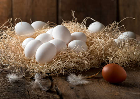 Delicious fresh eggs on straw in a rustic farm setting. Stock Photo