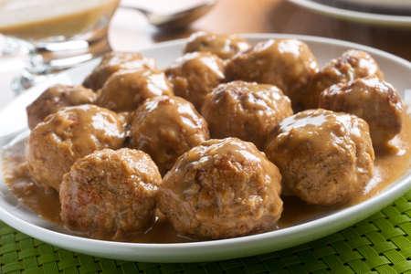 Delicious homemade swedish meatballs with mushroom cream sauce. Stock fotó