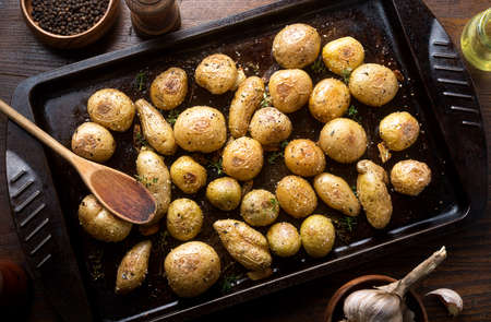 Delicious homemade herb and garlic roasted baby potatoes.