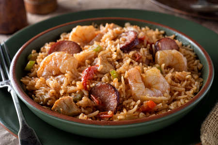 A bowl of delicious cajun style jambalaya with shrimp, chicken and sausage.