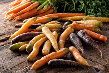 Raw fresh organic heirloom carrots on a rustic wood harvest table.