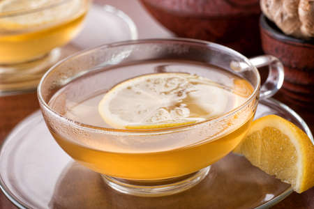 A cup of delicious hot lemon ginger tea.