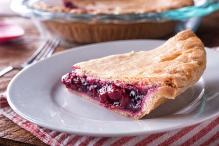 A slice of delicious homemade cherry pie.