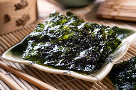 Delicious toasted seaweed and sesame snacks.