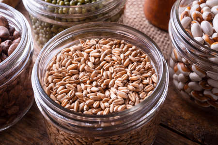 Wheat kernel berries in a glass storage container. 스톡 콘텐츠