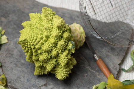 Romanesco Brecol in preparation to be cooked, served and eaten