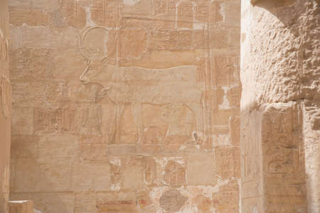 Temple of Hatshepsut, in the Deir el Bahari complex, on the west bank of the Nile River, near the Valley of the Kings, in Egypt, Africa.