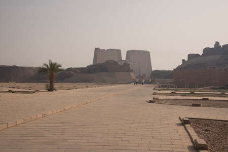 Magnificent and ancient temple of Edfu, located on the western bank of the Nile River in Egypt, Africa, dedicated to the god of the Dioese Horus.