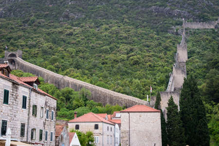 View of part of the route of the wall, in Ston, Dubrovnik Neretva county, located on the Peljesac peninsula, Croatia, Europe.