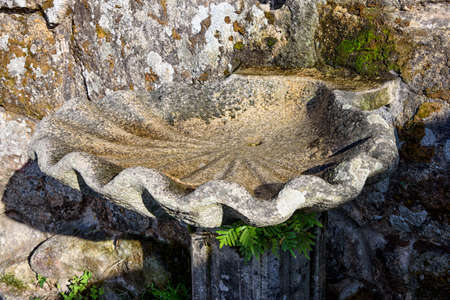 Stone pile conforms to shell, in the cemetery of Cambados, Rias Bajas, Pontevedra, Galicia, Spain, Europe..