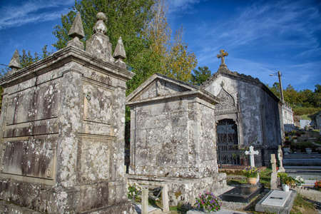 Pantheons and stone crosses, in the cemetery of Cambados, Rias Bajas, Pontevedra, Galicia, Spain, Europe. Stock Photo