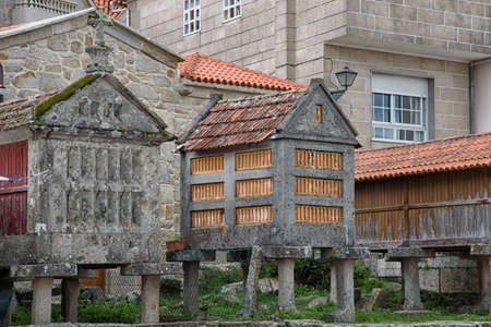Ancient horreos in Combarro, a parish belonging to the municipality of Poio in Pontevedra, Galicia, Spain, Europe.