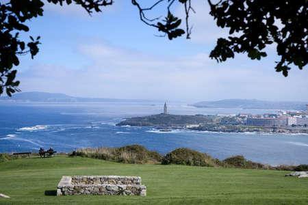 Views of the Tower of Hercules from Monte de San Pedro in La Coruña, Galica, Spain, Europe. Archivio Fotografico