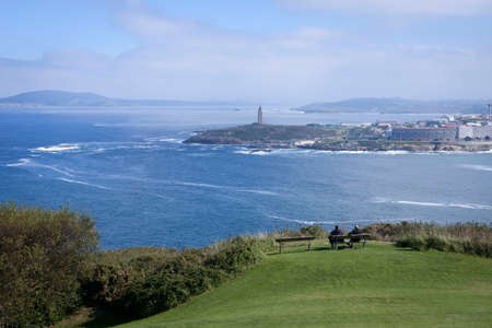 Views of the Tower of Hercules from Monte de San Pedro in La Coruña, Galica, Spain, Europe. Stock Photo