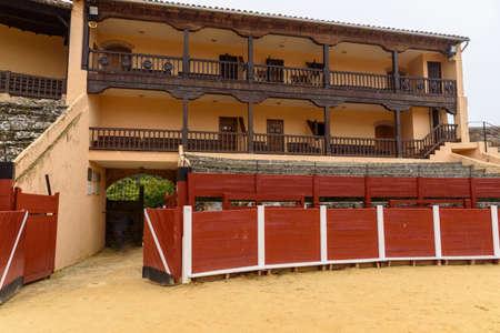 Balconies stands and burladero of the La Antigua bullring, in Bejar, Salamanca, Castilla Leon, Spain. Europe. old construction.