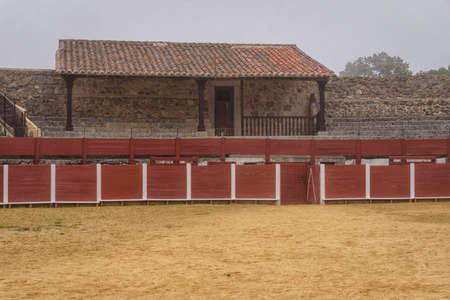 stands and burladero of the La Antigua bullring, in Bejar, Salamanca, Castilla Leon, Spain. Europe. old construction.
