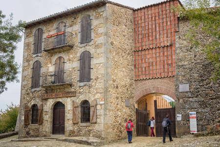 Facade of the La Antigua bullring, in Bejar, Salamanca, Castilla Leon, Spain. Europe. old construction.