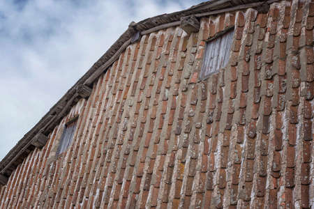 Typical facade with tile to move vertically, in Candelario, Salamanca, Castilla Leon, Spain, Europe. Village tradition.