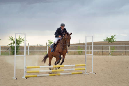 Jockey riding a horse jumping an obstacle on the track. Jumping sport.