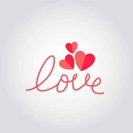 Love with hearts icon, abstract composition for Valentine s day with letters written with hearts, vector illustration