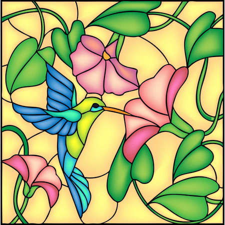 Floral composition with tropical flowers and flying humming bird   colibri, vector illustration Vector