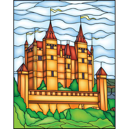castle interior: Castle, vector stained glass window