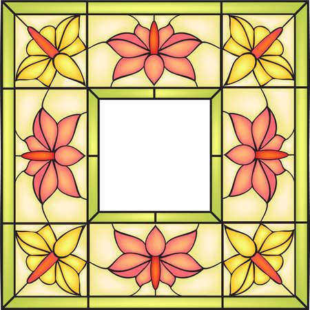 vetrate artistiche: Cornice floreale con fiori campsis e Bourgeons, Invito a nozze o annunci, vetrata