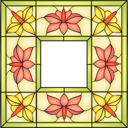 Floral frame with campsis flowers and bourgeons, Invitation to the wedding or announcements, stained glass window Stock Vector - 17901421