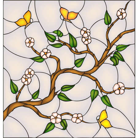 folk art: Japan cherry blossom with butterflies, vector stained glass window