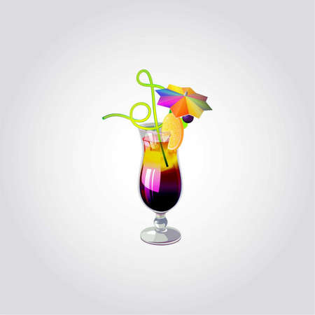 Summer tropical cocktail in glass with lemon, umbrella and drinking straw, vector illustration Vector