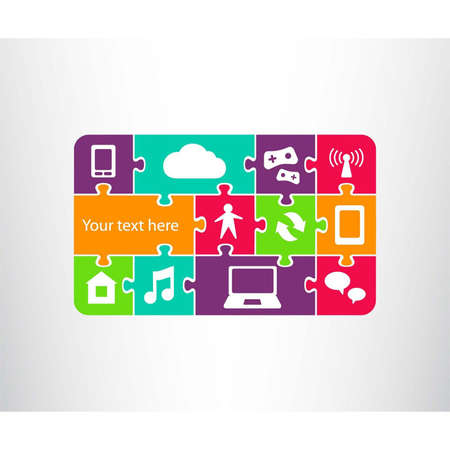 Icon showing connection between phone   tablet, laptop, world wide web network and human as jigsaw pieces   puzzle  Connection in the global computer network system  Vector illustration Stock Vector - 17901417