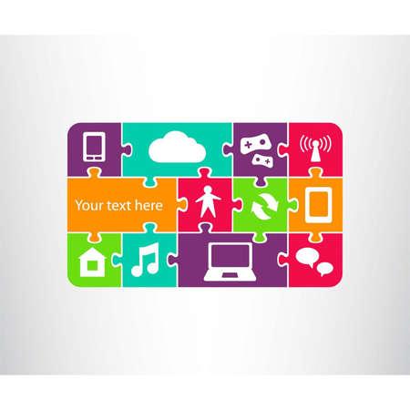 puzzle pieces: Icon zeigt eine Verbindung zwischen Telefon Tablet, Laptop, world wide web Netzwerk und menschlich wie Puzzleteile Puzzle Connection in der globalen Computer-Netzwerk-System Vector illustration Illustration