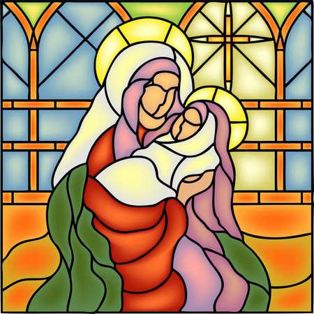 familia en la iglesia: Natividad - Mar�a con el beb�, el nacimiento de Jes�s, ilustraci�n vectorial vitral estilo