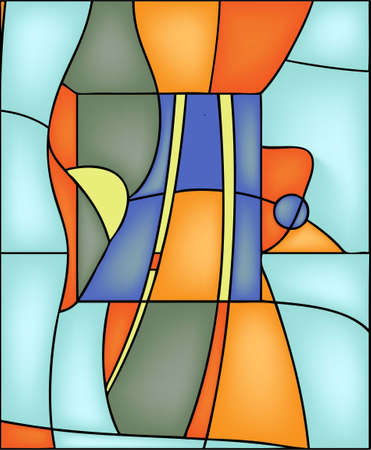Geometric abstract vector design in stained steel window style Illustration
