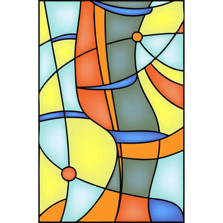 stained glass: Geometric abstract vector design in stained steel window style Illustration