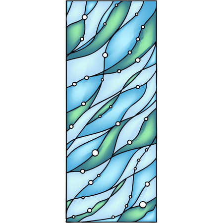 water stained: Abstract hand-drawn composition - Under the Sea  Vector illustration in stained glass window