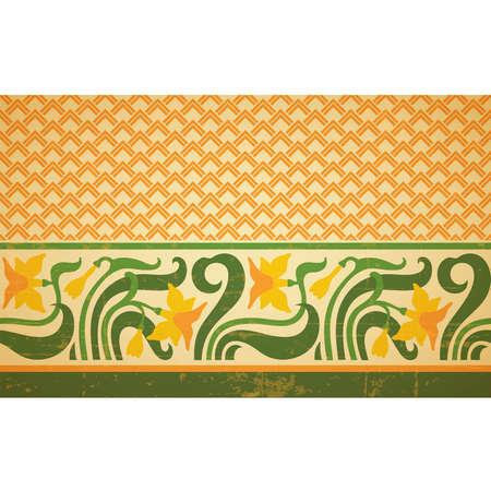 kopule: Fresco ornament s geometrickým vzorem částí a květinové hranic, bezešvé design, vektorové složení, starý design styl
