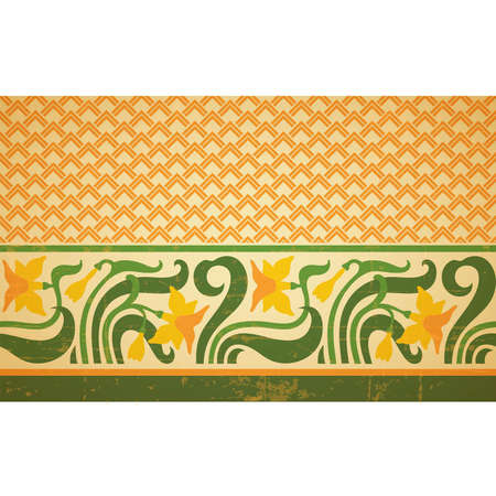 Fresco ornament with geometric pattern part and floral border, seamless design, vector composition, old style design