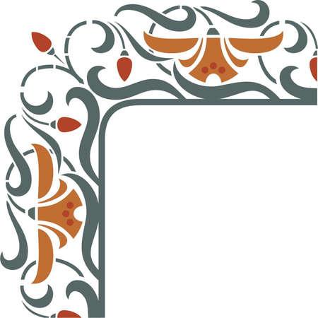 art nouveau: Fragola con il fiore, annata, vettore, cornice angolo, elemento di design