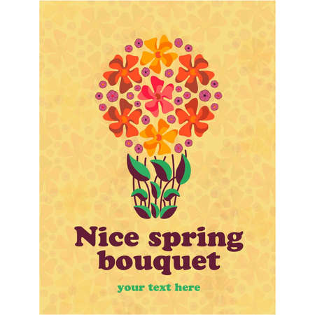 biotin: Spring vector floral card with text template