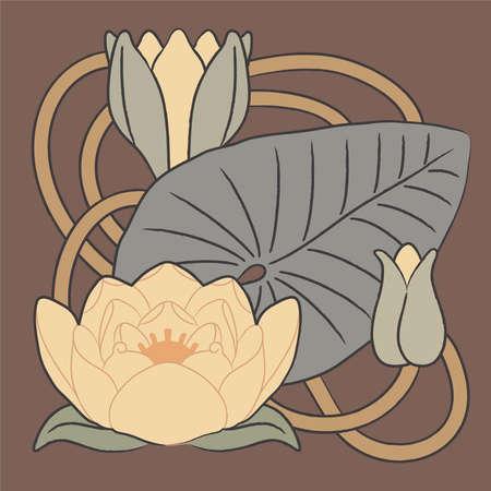 nouveau: Vector floral element - Lilly Illustration