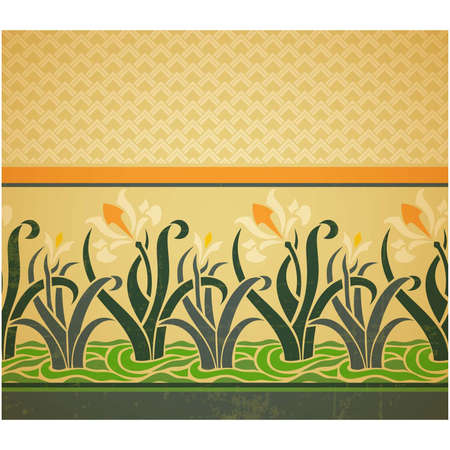 Fresco ornament with geometric pattern part and floral border with daffodils, seamless design, vector illustration, old style design Vector