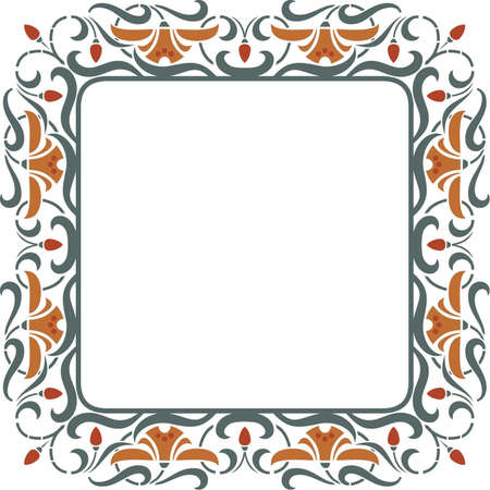 biotin: Square vintage vector floral frame - Strawberry with blossom Illustration