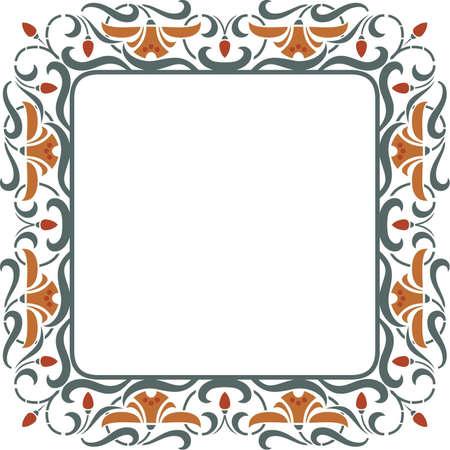 Square vintage vector floral frame - Strawberry with blossom Illustration